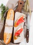 Dois sanduíches com salmões Fotos de Stock Royalty Free
