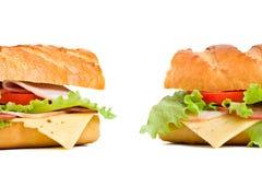 Dois sanduíches do baguette Fotografia de Stock