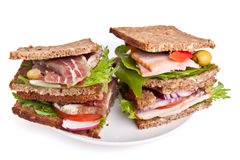 Dois sanduíches do pão de Rye Foto de Stock Royalty Free