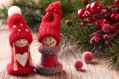 Dois Santa pequena Fotografia de Stock Royalty Free