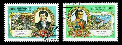 Dois selos postais impressos em Bielorrússia do 200th aniversário da revolta do serie da libertação, cerca de 1995 fotografia de stock