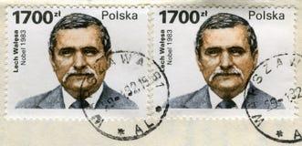 Dois selos velhos do borne com o retrato de Lech Walesa Foto de Stock Royalty Free