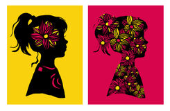 Dois silhouttes da menina com teste padrão de flor Ilustração do vetor Elementos do projeto Imagem de Stock Royalty Free