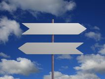 Dois sinais de encontro ao céu Imagens de Stock