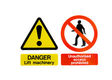 Dois sinais de perigo de advertência Imagem de Stock