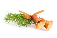 Dois sinos de Natal dourados Imagens de Stock Royalty Free