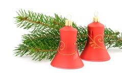 Dois sinos de Natal vermelhos Fotos de Stock Royalty Free