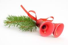 Dois sinos de Natal vermelhos Foto de Stock Royalty Free