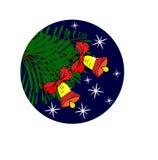Dois sinos em uma árvore de Natal ilustração do vetor