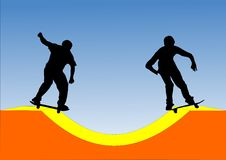 Dois skateres Imagens de Stock Royalty Free