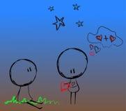 Dois sob as estrelas - romance ilustração do vetor