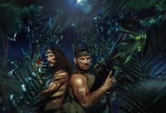 Dois soldados fortes na floresta tropical Imagens de Stock