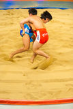 Dois Ssireum que Wrestling o esporte nacional coreano Fotografia de Stock Royalty Free