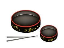 Dois Sushioke ou bandeja redonda do serviço do sushi Fotografia de Stock
