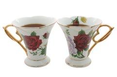 Dois teacups velhos da porcelana. Foto de Stock Royalty Free