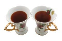 Dois teacups velhos da porcelana. Fotografia de Stock
