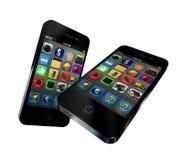 Dois telefones de tela do toque fotografia de stock royalty free