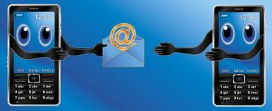 Dois telefones e email de pilha Imagens de Stock