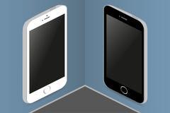 Dois telefones em cores diferentes nos quadros de avisos de tapeçaria Imagem de Stock Royalty Free