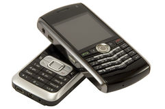 Dois telefones móveis Imagens de Stock Royalty Free