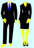 Dois ternos de negócio espertos, um macho, uma fêmea. ilustração do vetor