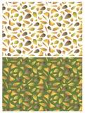 Dois testes padrões com folhas Imagens de Stock Royalty Free