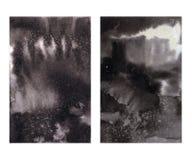 Dois testes padrões molhados monocromáticos do efeito da textura do inc ilustração do vetor