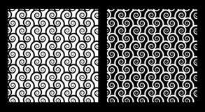 Dois testes padrões sem emenda com espirais ilustração do vetor
