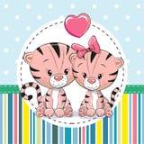 Dois tigres bonitos dos desenhos animados ilustração do vetor