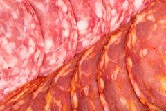 Dois tipos do salame como o macro do fundo Imagens de Stock Royalty Free