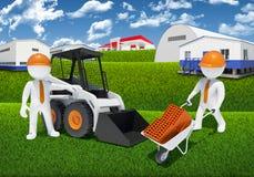 Dois trabalhadores 3d com carregador e carrinho de mão Imagens de Stock