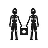 Dois trabalhadores que guardam um saco Vector o ícone preto no fundo branco Imagem de Stock Royalty Free