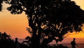 Dois trabalhadores, um no tampão baixo da bola, retornando em casa no por do sol em África do Sul imagens de stock