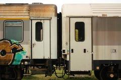 Dois trens ligados Fotos de Stock