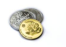 Dois Troy Ounces da prata fina - 999 - moedas e moeda de ouro 800 Foto de Stock Royalty Free