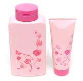 Dois tubos de ensaio cor-de-rosa do champô e do hélio para a alma Foto de Stock Royalty Free