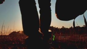 Dois turistas estão sentando o estilo de vida pela fogueira da cerveja fazem o selfie em um partido do smartphone na luz solar de vídeos de arquivo