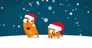 Dois Upsies que dança a dança engraçada louca do Natal Noite nevado e Feliz Natal! sinal 4k, pronto para uso como o vídeo do cump ilustração royalty free