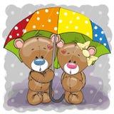 Dois ursos bonitos dos desenhos animados com guarda-chuva ilustração do vetor
