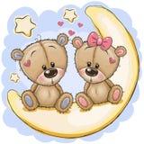 Dois ursos bonitos estão sentando-se na lua ilustração stock