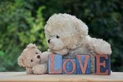 Dois ursos de peluche brancos com pedras do amor Foto de Stock