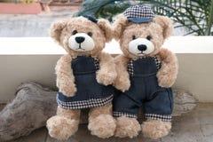 Dois ursos de peluche no fundo de madeira imagens de stock