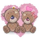 Dois ursos dos desenhos animados em um fundo do coração ilustração do vetor