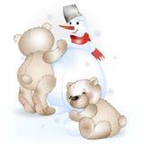 Dois ursos fazem um boneco de neve Fotografia de Stock