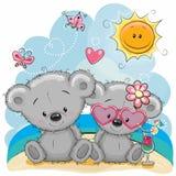 Dois ursos na praia ilustração royalty free