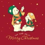 Dois ursos polares cumprimentam-se Feliz Natal Fotografia de Stock