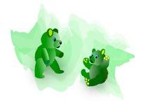 Dois ursos verdes distorcido da peluche Imagens de Stock Royalty Free