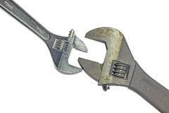 Dois usaram chaves inglesas ajustáveis Imagem de Stock