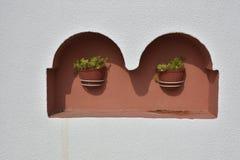 Dois vasos de flores com flores em uma ameia em uma fachada da casa Imagem de Stock