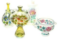 Dois vasos de vidro com potenciômetro e carafe Imagens de Stock